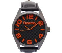Orange Dial Armbanduhr Schwarz