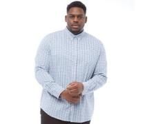 Übergröße Karo Hemd mit langem Arm Mittelblau