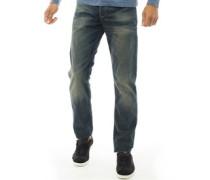 Biker Jeans mit geradem Bein Verblasstes