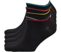 Wave Fünf Pack Sneaker Socken Schwarz
