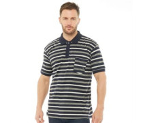 Mens Yarn Dyed Striped Polo Navy/Grey