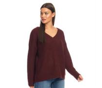 Kneeson Pullover mit V-Ausschnitt Burgunder