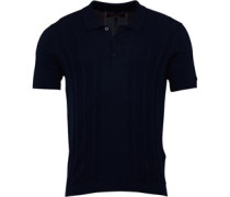 Mens Textured Mod Stripe Knitted Polo Navy
