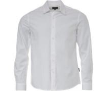 Poplin Hemd mit langem Arm Weiß