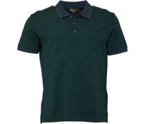 Mens Tipped And Printed Pique Polo Green Grass