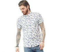 Antonio Gemustert Hemd mit kurzem Arm Natur