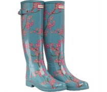 Womens Refined Blossom Print Tall Wellington Boots Soft Pine Floral