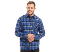 Garn Gefärbt Karo Flanell Hemd mit langem Arm Dunkelblau
