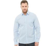 Dobby Hemd mit langem Arm Blau