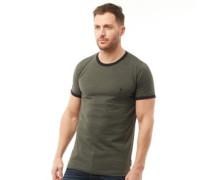 FCUK Ringer T-Shirt Dunkelgrünmeliert
