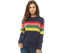 Tutti Frutti Rainbow Stripe Pullover mit Rundhalsausschnitt Navy
