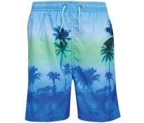 Mens Palm Tree Print Swim Shorts Blue
