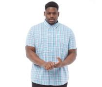 Übergröße Poplin Karo Hemd mit kurzem Arm Minzgrün