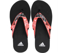 Mens Calo 5 Graphic Flip Flops Black/Solar Red
