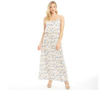 AOP Strap Maxi Kleid Naturweiß