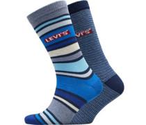 168 Series Multi Streifen Zwei Pack Socken Blau