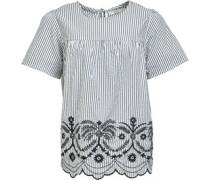 Gestickt Bluse mit langem Arm Weiß