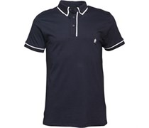 Piping Polohemd Navy/Weiß