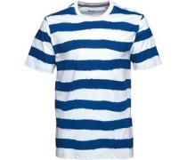 Hand Painted Gestreift T-Shirt Weiß