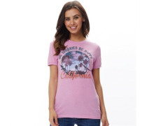 Womens Be Happy T-Shirt Flamingo Pink
