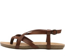 Womens Golden Strapped Sandals Whiskey Pisa