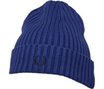 Baumwolle Rib Beanie Mütze Kobalt