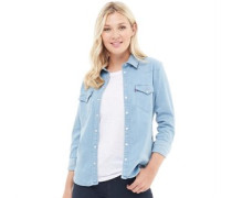 Tailored Classic Western Bluse mit langem Arm Hell Denim