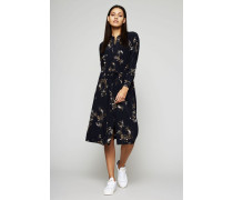 Kleid mit Blumenprint Blau/Multi - Seide