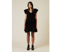 Kleid mit Volant und Polka-Dots Schwarz