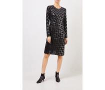 Kleid mit Paillettendetails Schwarz/Silber
