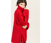Oversize Woll-Rollkragen Rot