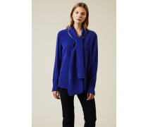 Seidenbluse mit Bindeelement 'Maple' Royalblau - Seide