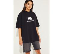 Oversize Shirt mit Logo Schwarz