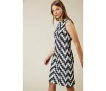 Kariertes Tweed-Kleid Navy/Weiß - Seide