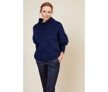 Woll-Cashmere-Pullover mit Turtle-Neck Blau - Cashmere
