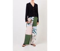 Seiden-Hose mit Patchwork-Print Multi