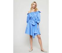 Off-Shoulder Kleid mit Bindeelement Chambray - 100% Baumwolle