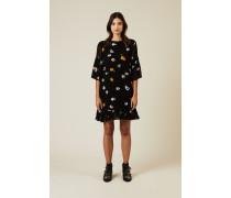 Kleid mit floralem Print Schwarz