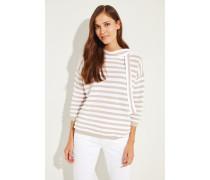 Gestreifter Baumwoll-Pullover Beige/Weiß