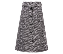 Tweed-Rock mit Muster /Weiß