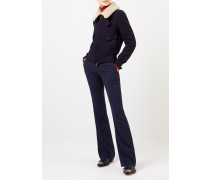 Kurze Woll-Jacke mit Fellkragen Marineblau
