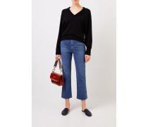 Cashmere-Pullover mit V-Neck Schwarz