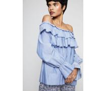 Off-Shoulder Bluse mit Volants Indigo - 100% Baumwolle