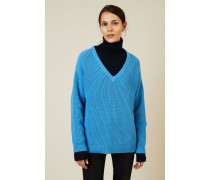 V-Neck Grobstrick-Pullover Lagoon Blue - 100% Baumwolle