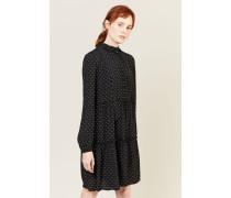 Kurzes Kleid mit Print Schwarz