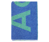 Woll-Schal 'Toronty' mit Logoprint Blau/Grün
