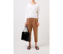 Cashmere-Seiden-Pullover mit Pailletten Weiß