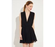 Seiden-Kleid mit tiefem Ausschnitt Schwarz