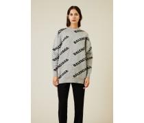 Oversize Wollpullover mit Schriftzug Grau/Weiß
