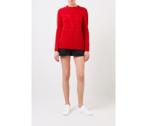 Woll-Cashmere-Pullover 'V' Rot